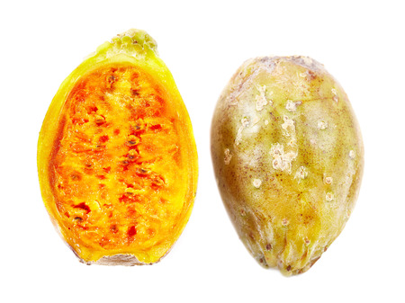 Closeup of a ripe cactus fruit (prickly pear) cut in half,  isolated on white background