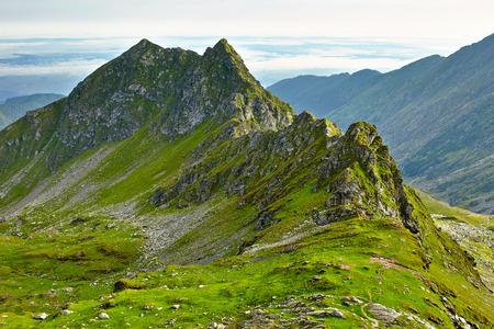 Landscape with Fagaras rocky mountains in Romania Stock Photo