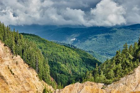 desolation: Landscape with Ruginoasa pit in Apuseni national reserve, Romania Stock Photo