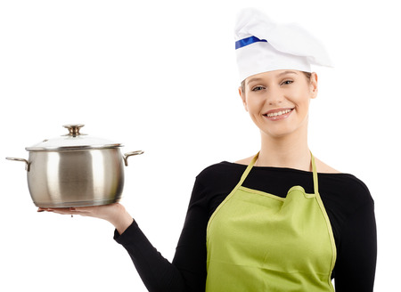 stainless steel pot: Gorgeous caucasian woman cook with a stainless steel pot, isolated on white background