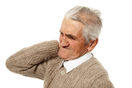 senior man on a neck pain: Senior man with a strong pain in the back of his neck Stock Photo