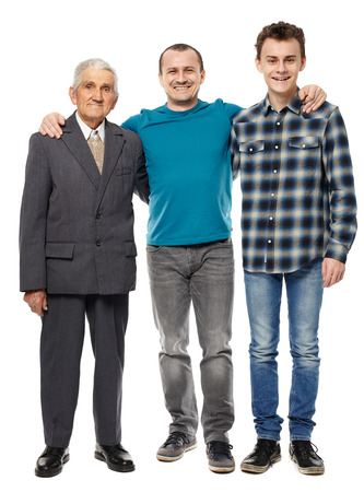 three generation: Male generations - grandfather, son and grandson in full length studio portrait