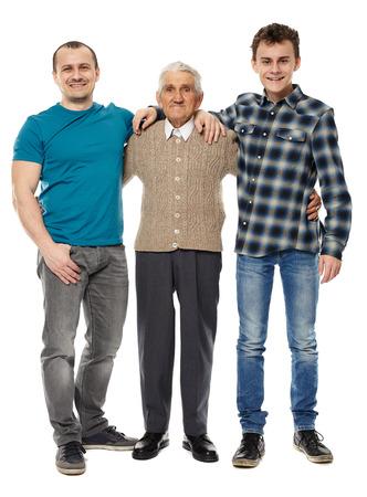 abuelo: Generaciones masculinos - abuelo, hijo y nieto de longitud completa retrato de estudio