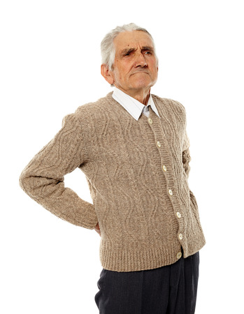 spinal conditions: Senior caucasian man with a pain in the lower back Stock Photo