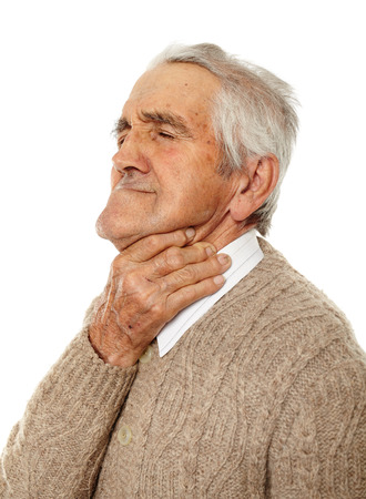 senior man on a neck pain: Old man with sore throat over flu isolated on white