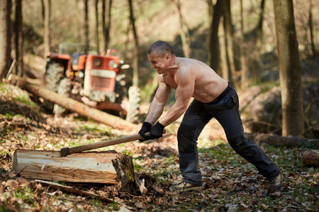 woodcutter: Strong caucasian shirtless woodcutter splitting wood in the forest with an ax Stock Photo