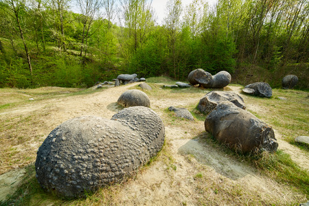 sedimentary: Landscape with sedimentary rocks (concretions) in the natural park in Romania