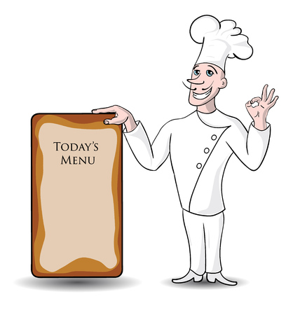 Stylish Italian chef presenting restaurants menu on a board with copyspace