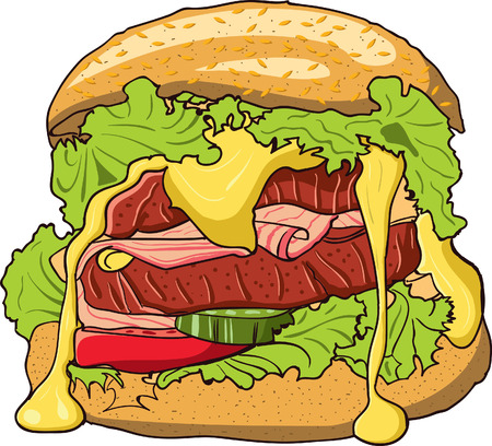 cheddar: Big hamburger with melted cheddar lettuce and other vegetables and meat