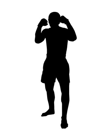 Silhouette of a muay thai or kickbox fighter in a guard stance on white background
