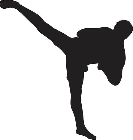 muay thai: Silhouette vector of a kickboxer or muay thai fighter