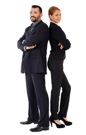 together standing: Business couple back to back isolated on white background
