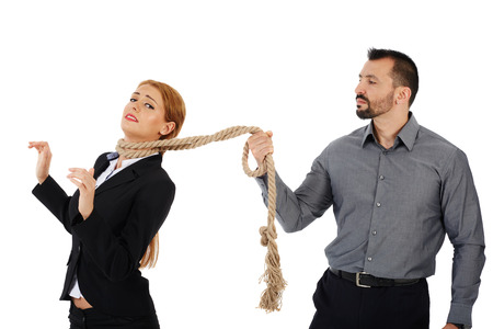 Male boss holding his female employee on short leash