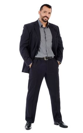 men standing: Full length of a confident good looking businessman isolated on white background