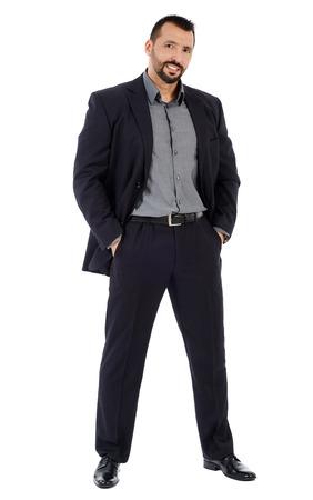 persona de pie: Integral de un buen hombre de negocios busca confianza aislado sobre fondo blanco