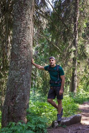 secular: Caucasian man hiker resting in a secular forest near by a huge fir tree