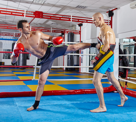 thai  art: Two muay thai fighters in a sparring match in the ring