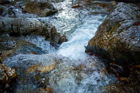 rapidly: Landscape with a river in the mountains flowing rapidly Stock Photo