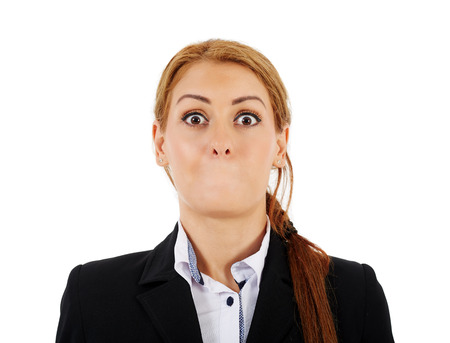 silenced: Female businesswoman without her mouth and with a shock expression