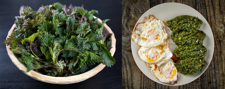 side dish: Raw nettles in a bowl and cooked nettles in a side dish near three roasted eggs