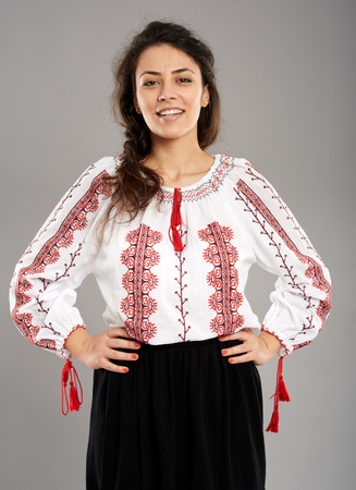 ethnology: Closeup of a young Romanian dressed in traditional costume