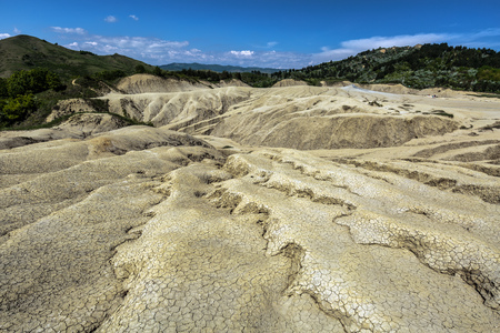 reservation: Active muddy volcanoes reservation in Berca, Romania Stock Photo