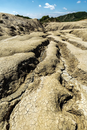 muddy: Active muddy volcanoes reservation in Berca, Romania Stock Photo