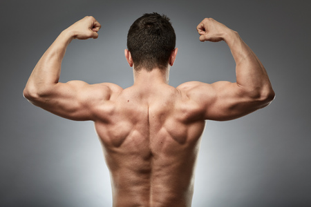 lats: Bodybuilder model showing his muscular back over gray background