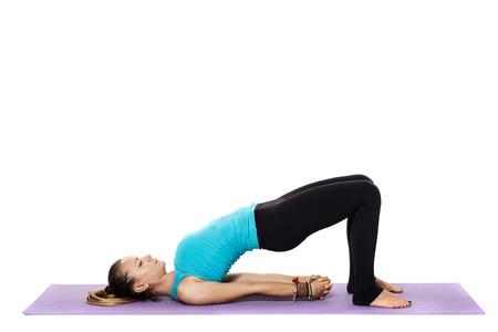 pranayama: Woman yoga teacher in various poses (asana) isolated on white background