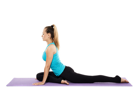 asana: Woman yoga teacher in various poses (asana) isolated on white background