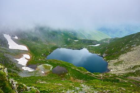 capra: Landscape with lake Capra in Romanian Carpathian mountains
