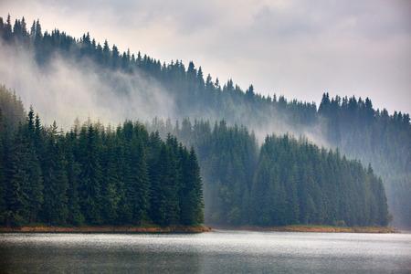 Landscape with lake Vidra in Southern Carpathians