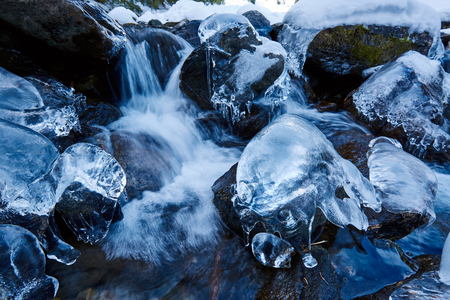 Closeup of a frozen mountain river flowing through icy rocks