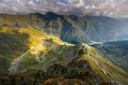 transfagarasan: The Transfagarasan highway in Romania, winding through the mountains