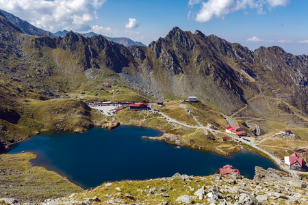 balea: Aerial view of Balea Lake in Romanian Carpathian mountains