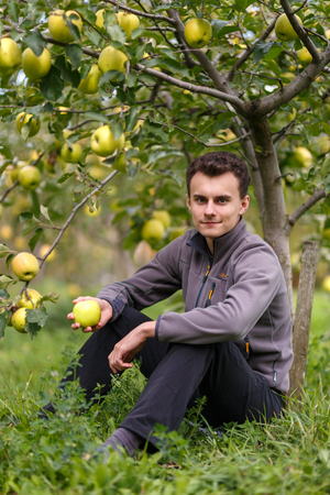 Teenager boy farmer in the orchard at apple harvest