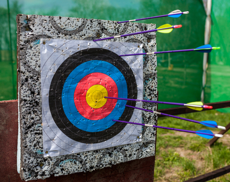 Arrows shot in a target at a bow shooting range Stock Photo