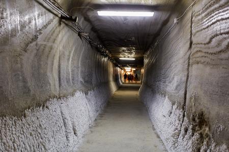 turda: Wide angle of an underground tunnel into a salt mine