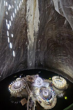 turda: Wide angle of a very big salt mine underground Stock Photo