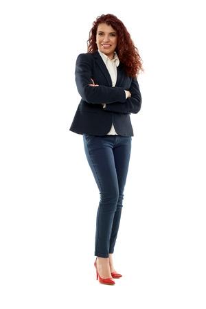 Senior hispanic businesswoman in full length isolated on white Banco de Imagens