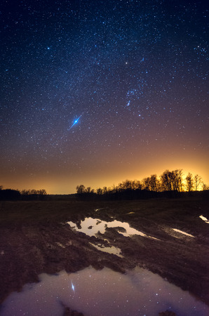 starlit: Starry sky reflecting in tyre tracks water in countryside