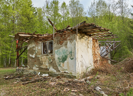 decrepitude: Ruined house in the forest, image of decrepitude Stock Photo