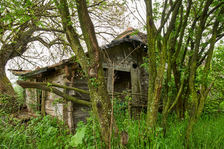 A very old and ruined house in the countryside