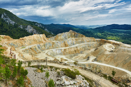 dug: Landscape with a large stone quarry in full development Stock Photo