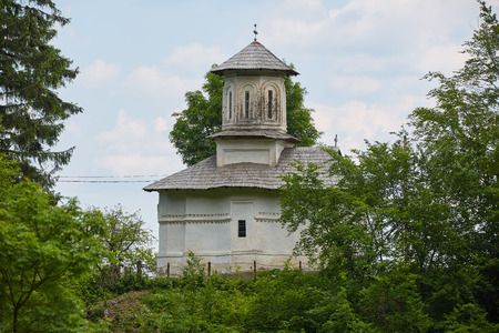 Orthodox church on a mountain in the forest Banque d'images
