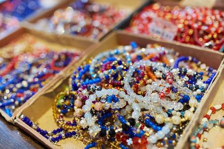 Handmade religious bracelets in closeup