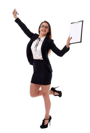 Young latino businesswoman celebrating success, full body shot isolated on white