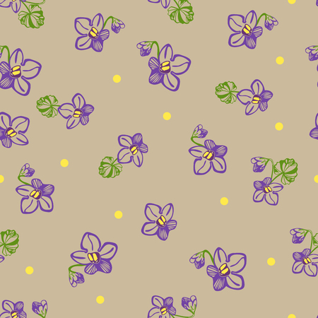 violet flower: Vector pattern with linear hand drawn violet flower and yellow dots Illustration