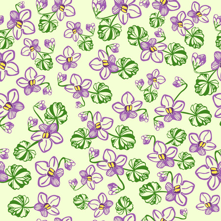 violet flower: Vector pattern with linear hand drawn violet flower