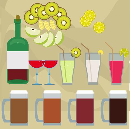 green apple slice: vector illustration of drinks and fruits for menu